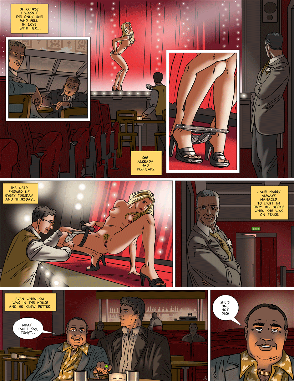 Brandy finishes her strip show for an admiring audience.