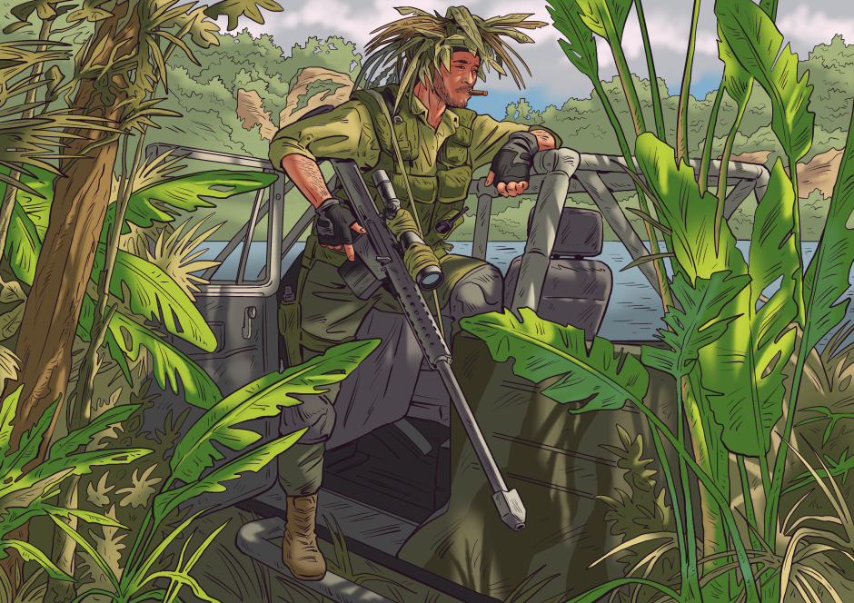 Hanging out in the jungle during a break in the fighting.